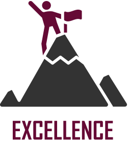 """Cartoon image of someone climbing a mountain with the word """"excellence"""" written underneath."""